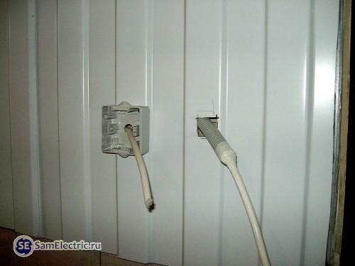 Установка выключателей на профнастил