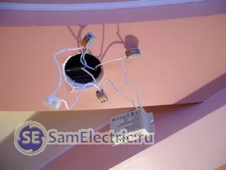Подключение устройства защиты ламп