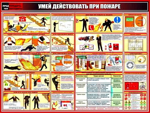 Плакат - Умей действовать при пожаре