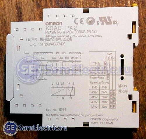 Omron K8AB - временные диаграммы, настройка и схема реле контроля напряжения