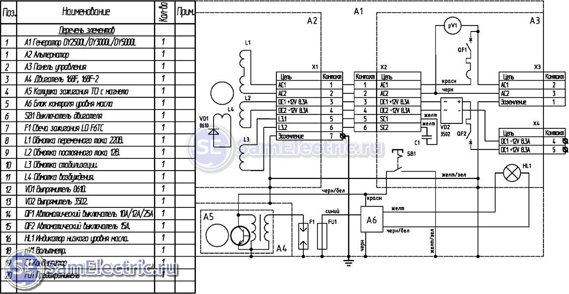 Схема электрическая бензинового генератора фото 881