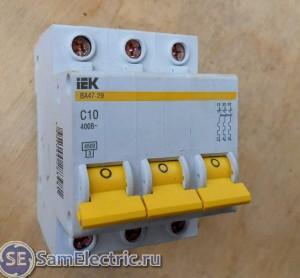 Защитный автомат для включения электродвигателя