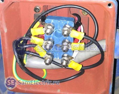 Борно двигателя - на клеммы приходят 6 проводов