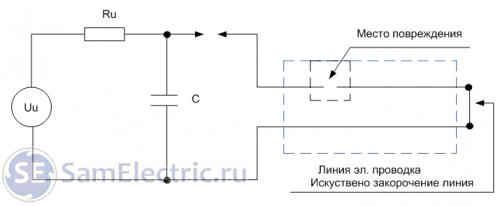 Рис. 2. Схема электрического разрядника с высоковольтным конденсатором