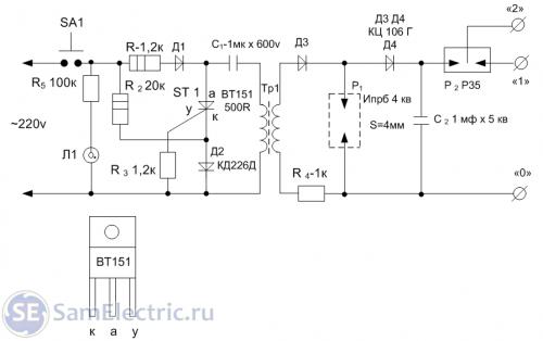 4. Схема прибора для определения места обрыва провода