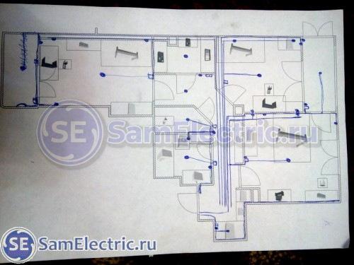 План электрики в стройварианте 3-комн. квартиры