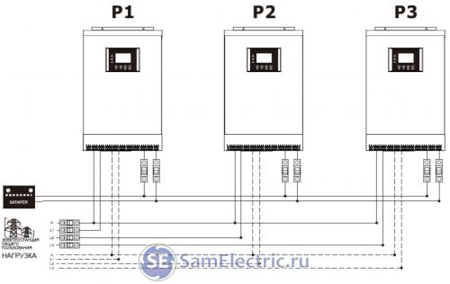 Три фазы - схема подключения солнечных инверторов