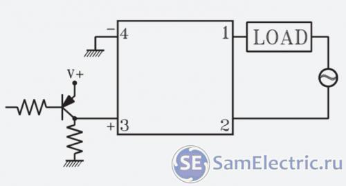 Управление транзистором PNP, НО реле