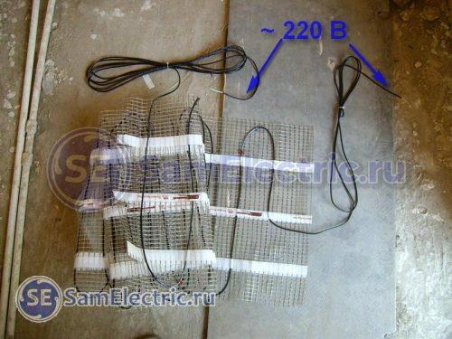 Подключение кабеля к электропитанию