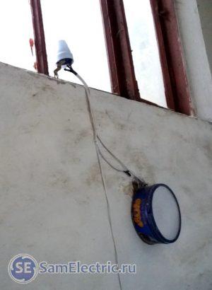 Вариант монтажа самодельного светодиодного светильника с датчиком движения в подьезде