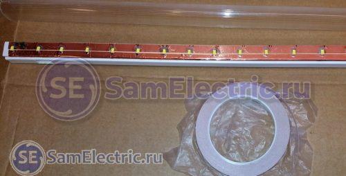 Медная самоклеющаяся лента после пайки светодиодов приклеивается на корпус светильника.