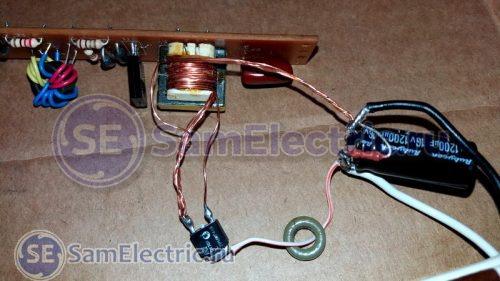 Внешний вид схемы, собранной на электронном балласте и выпрямителе на транзисторе