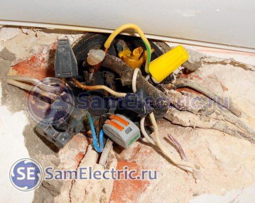 Сгоревшее соединение алюминиевых и медных проводов между собой