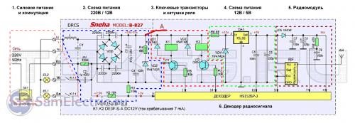 Схема контроллера светодиодной люстры, разбитая на части для легкого понимания