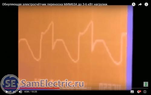 Форма напряжения на нагрузке при включении в сеть прибора МИМ