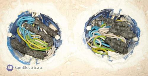6. Укладываем провода в распределительных коробках