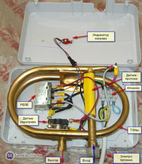 Устройство проточного водонагревателя термекс