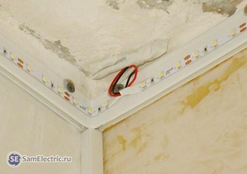 Монтаж светодиодной ленты для подсветки натяжного потолка