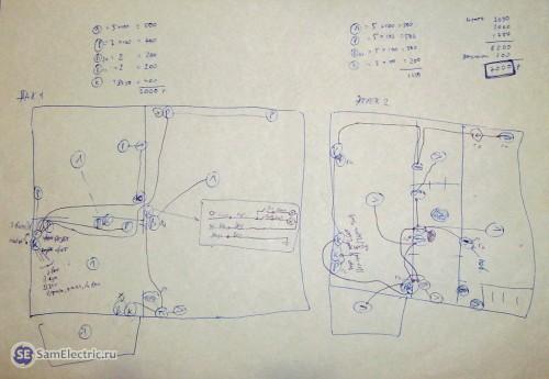 План электропроводки квартиры, нарисованный от руки, с калькуляцией