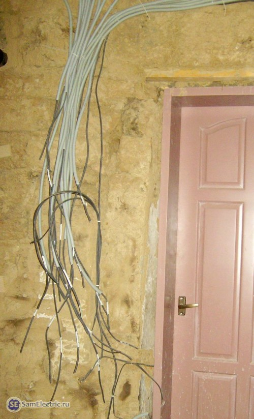 Подписанные кабели приходят к месту установки щитка