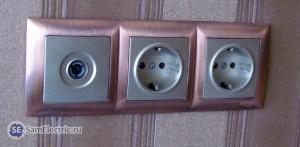 Антенная розетка ТВ и 2питания на стене Visage deluxe