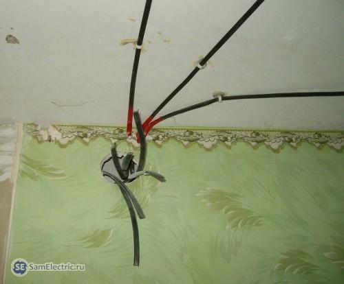 Выводы кабеля под распределительную коробку.