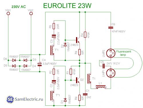 схема энергосберегающей лампы на 23 вт