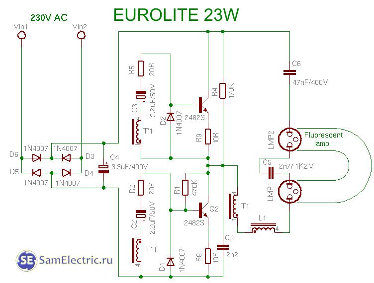 Схемы, устройство и работа энергосберегающих ламп. Радиотехника.