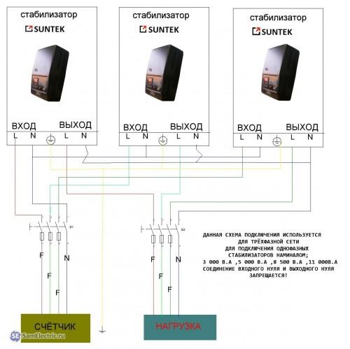 схема подключения трехфазного стабилизатора напряжения